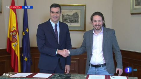 Sánchez e Iglesias acuerdan un Gobierno de coalición
