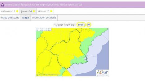Alerta amarilla por vientos de 80 km/h mañana jueves