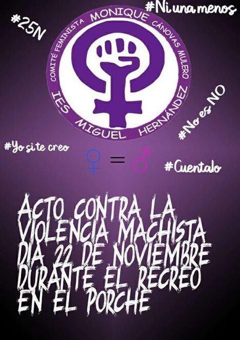 Cartel del Comité Feminista Monique Cánovas Mulero, en el IES Miguel Hernández.