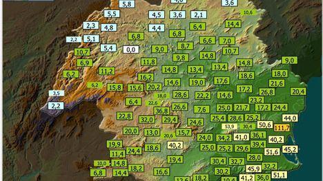 Alhama registra 24 litros por m2 en las últimas 12 horas