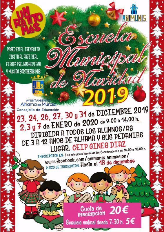 La Escuela de Navidad 2019 se realizará en el CEIP Ginés Díaz