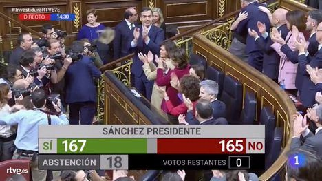 Pedro Sánchez, investido presidente con 167 apoyos