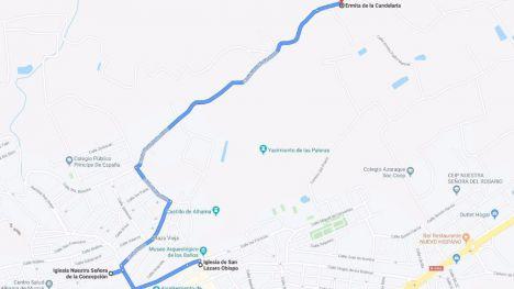 Aviso de los cortes de tráfico por la romería de La Candelaria