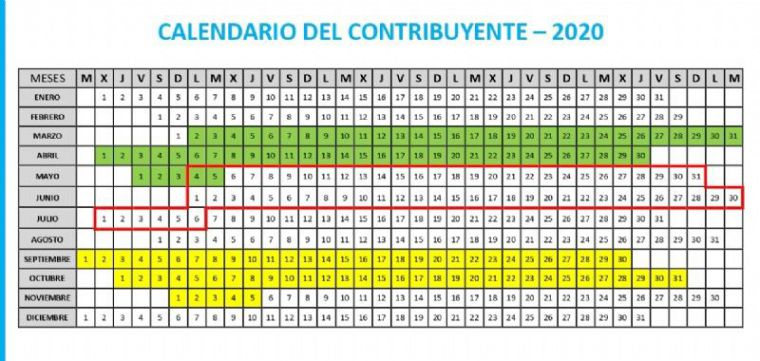 Ya disponible el calendario del contribuyente de 2020