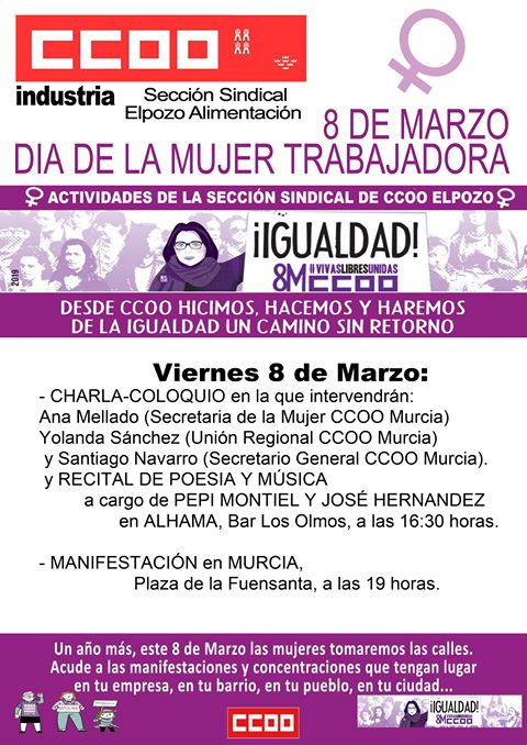 CCOO ElPozo organiza una charla en Alhama por el Día de la Mujer