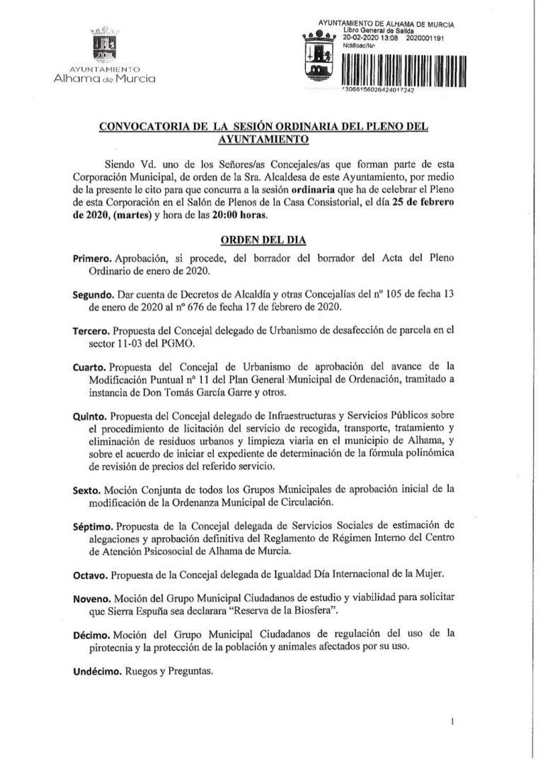 El pleno de febrero abordará el contrato de recogida basuras