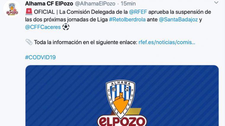 Cancelados los partidos del Alhama CF ElPozo por el coronavirus