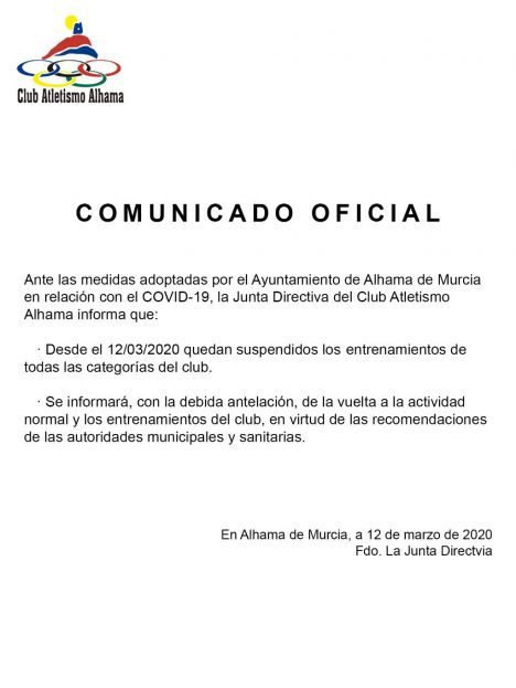 El Club de Atletismo comunica la suspensión de los entrenamientos