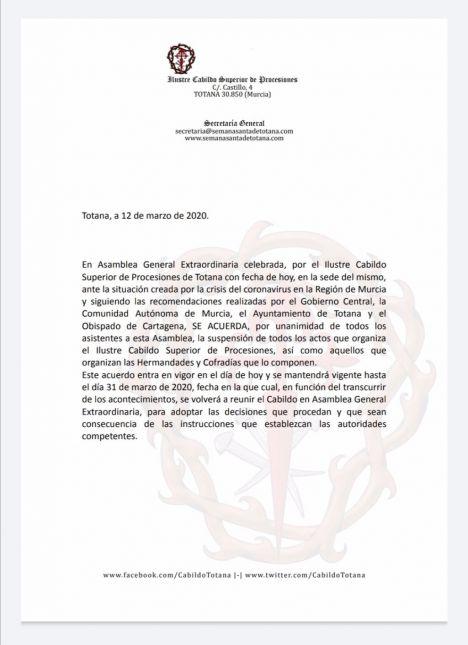 Totana suspende los preparativos de Semana Santa por el Covid19