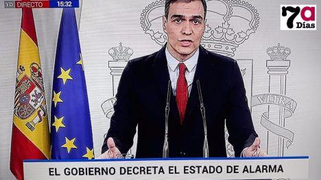El presidente Pedro Sánchez declara el estado de alarma