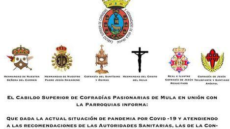 Suspenden la Semana Santa de Murcia y Mula por el coronavirus