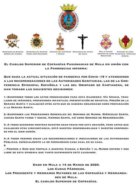 Imagen del comunicado del Cabildo de Cofradías de Mula este sábado.