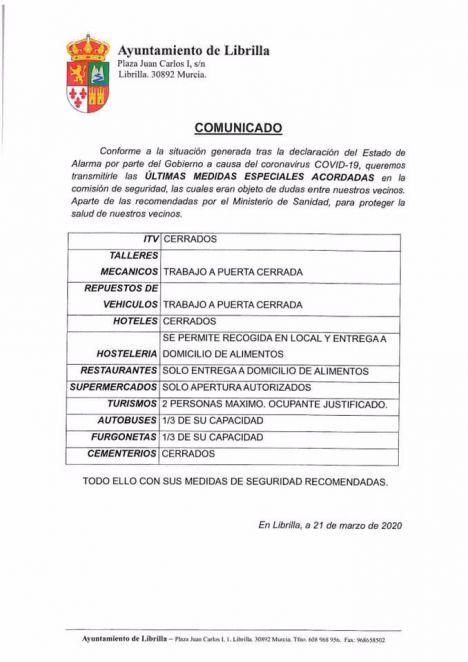 Últimas medidas especiales, informa la Policía Local de Librilla
