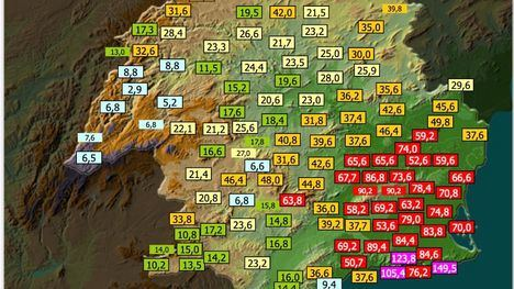 La lluvia deja en 24 horas más de 63 litros/m2 en Gebas