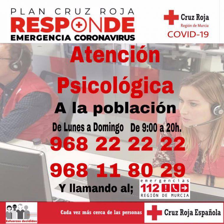 Cruz Roja habilita el servicio de asistencia psicológica