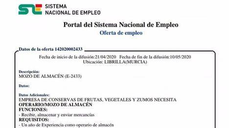 Nuevas ofertas de trabajo en Librilla y Alhama