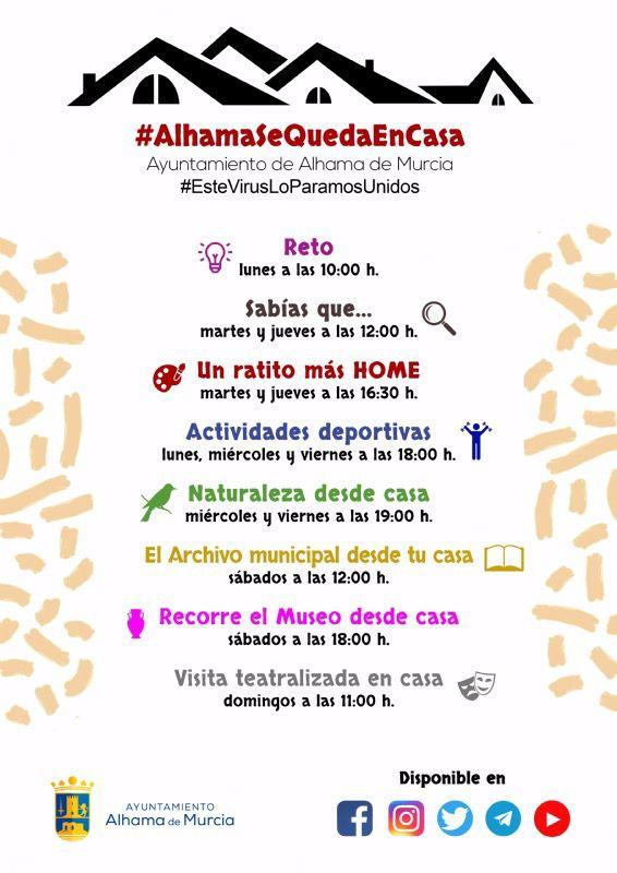 #AlhamaSeQuedaEnCasa ofrece nuevas actividades y horarios