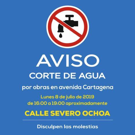 Corte de agua en la calle Severo Ochoa por las obras de renovación