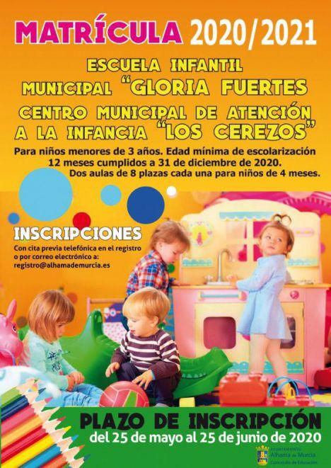 Las matrículas en Los Cerezos y G. Fuertes, a partir del 25 de mayo