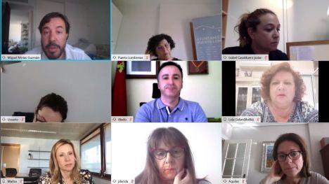 Imagen de la videoconferencia mantenida por el consejero de Empleo, Investigación y Universidades, Miguel Motas, con alcaldes y concejales de ayuntamientos del Alto y Bajo Guadalentín.