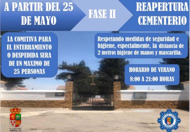 Con la Fase 2 reabre el cementerio librillano ya con horario de verano