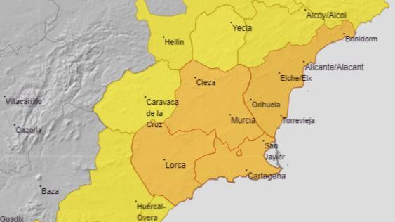 Aviso naranja por tormentas en el Valle del Guadalentín