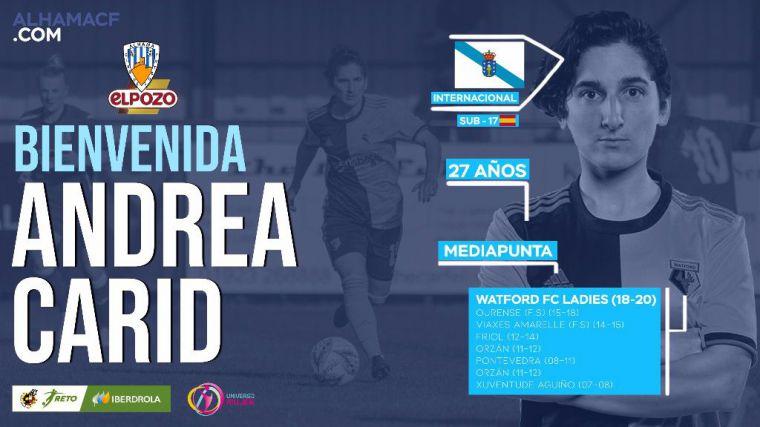 Andrea Carid, cuatro fichaje del Alhama CF ElPozo