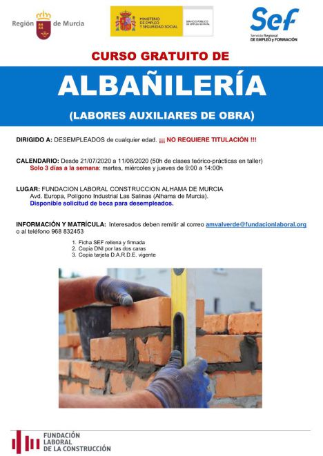La Fundación Laboral de la Construcción ofrece un curso de albañilería