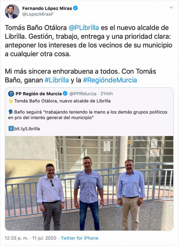 López Miras: 'Con Tomás Baño, ganan Librilla y la Región'