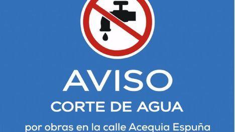 El próximo lunes se corta el agua por obras en Acequia Espuña
