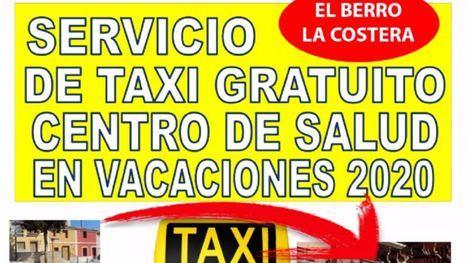 El Berro y La Costera cuentan con taxi gratuito este verano