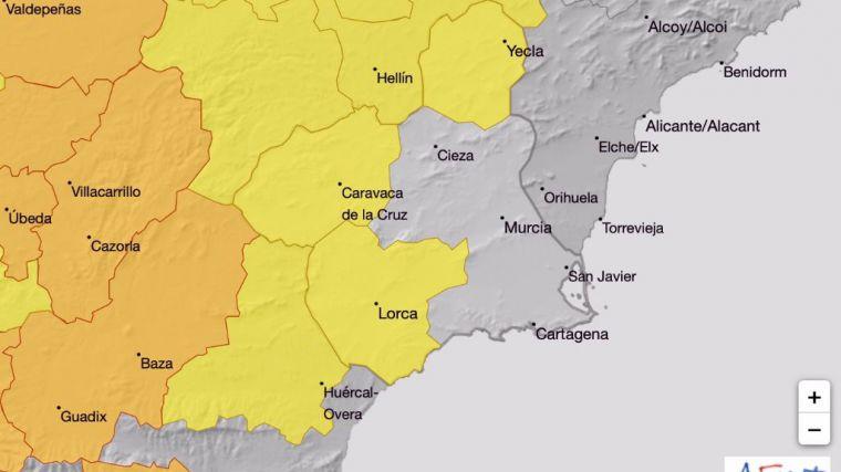 Aviso amarillo por altas temperaturas en el Guadalentín mañana