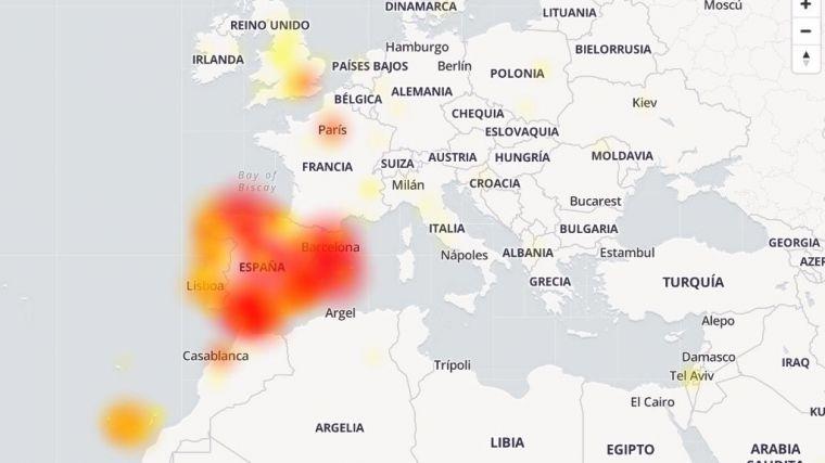 Imagen de los países afectados por la caída de Facebook, Instagram y WhatsApp en el portal downdetector.es