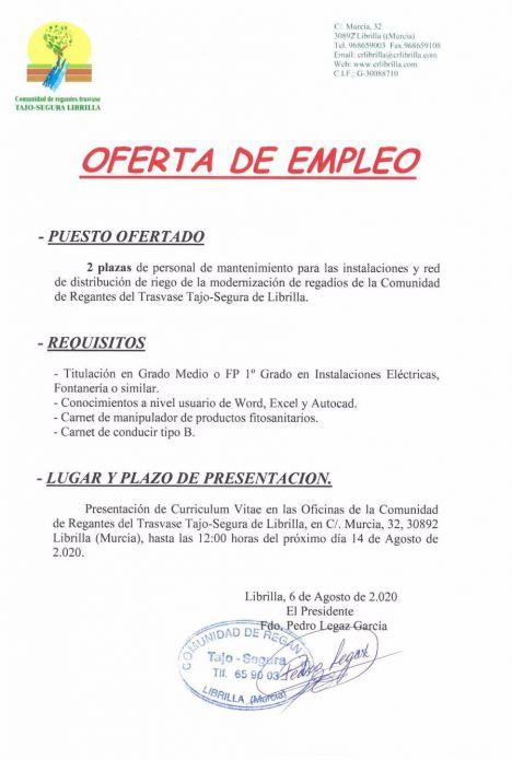 Los regantes de Librilla ofrecen dos empleos para mantenimiento