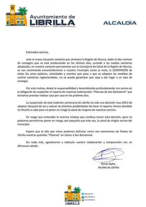 Suspendidas las Pitanzas en Librilla por el Covid19