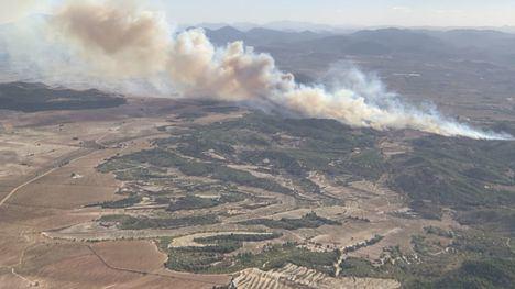 La UME interviene en el incendio en el paraje de Porriones en Mula