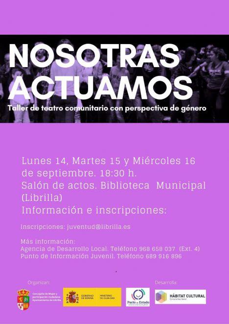 Librilla acoge un taller de teatro con enfoque de género este lunes 14