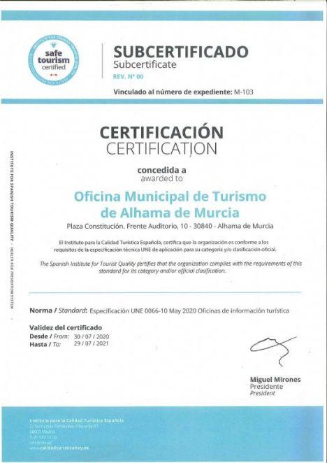La oficina de turismo logra el certificado 'Safe Tourism Certified'