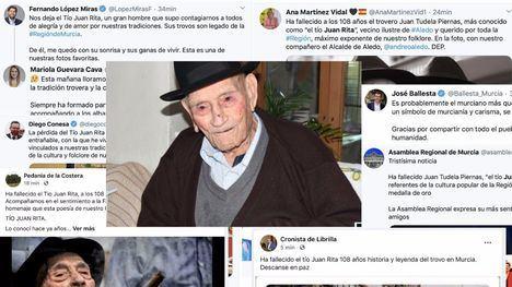 Pesar por la muerte del Tío Juan Rita en toda la Región