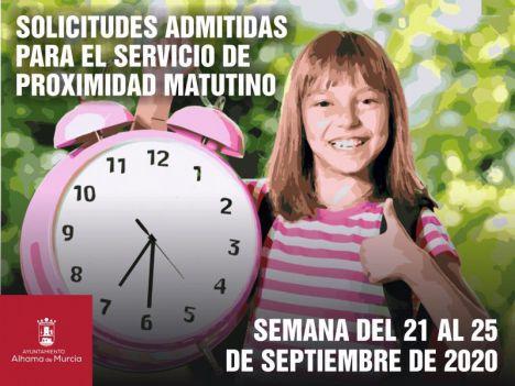 58 niños admitidos en el Servicio Matutino para la próxima semana
