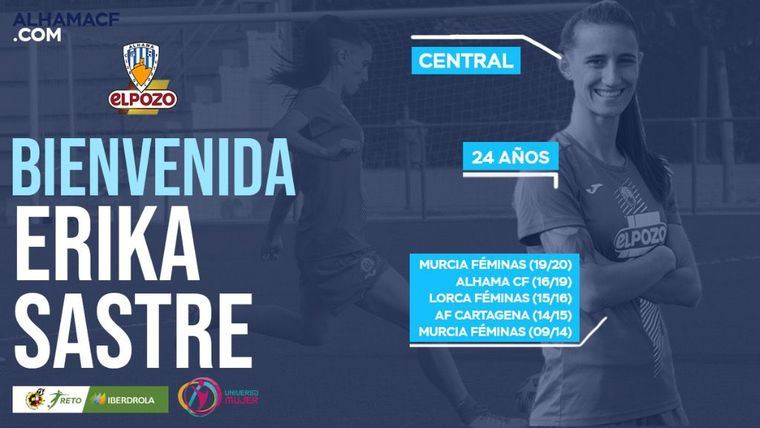 El Alhama CF ElPozo ficha a la ex azulona Erika Sastre
