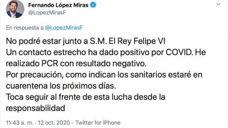 López Miras, aislado al ser contacto estrecho de un positivo Covid19