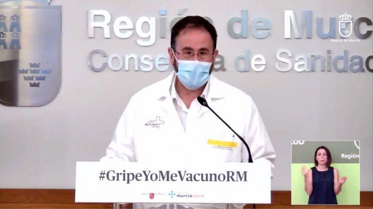 El portavoz del Comité de Seguimiento del Covid19 en la Región, Jaime Pérez, en su comparecencia de este martes 13 de octubre.