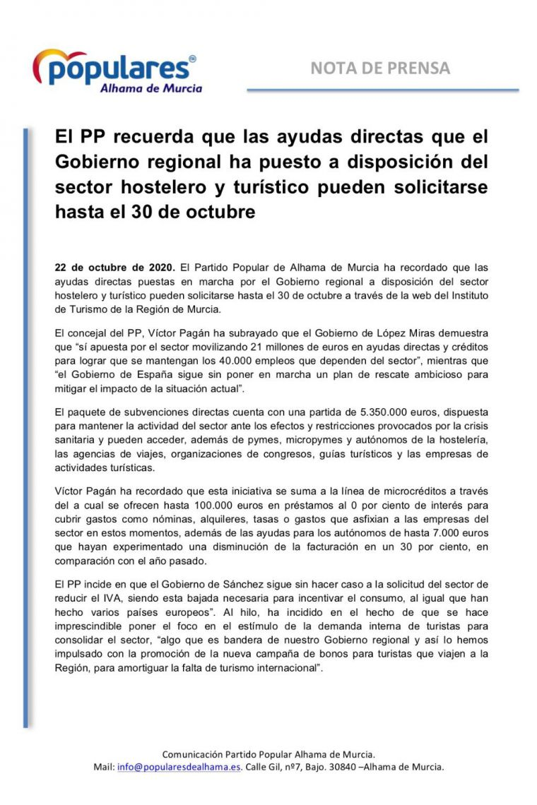 El PP de Alhama pone en valor las ayudas de la Región a la hostelería