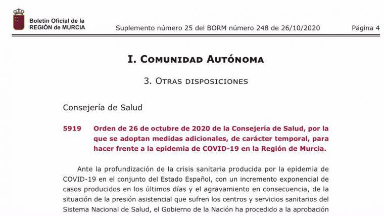 En vigor las nuevas normas por el Covid19 en la Región