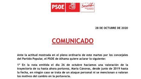 Comunicado del PSOE tras la marcha del PP del pleno