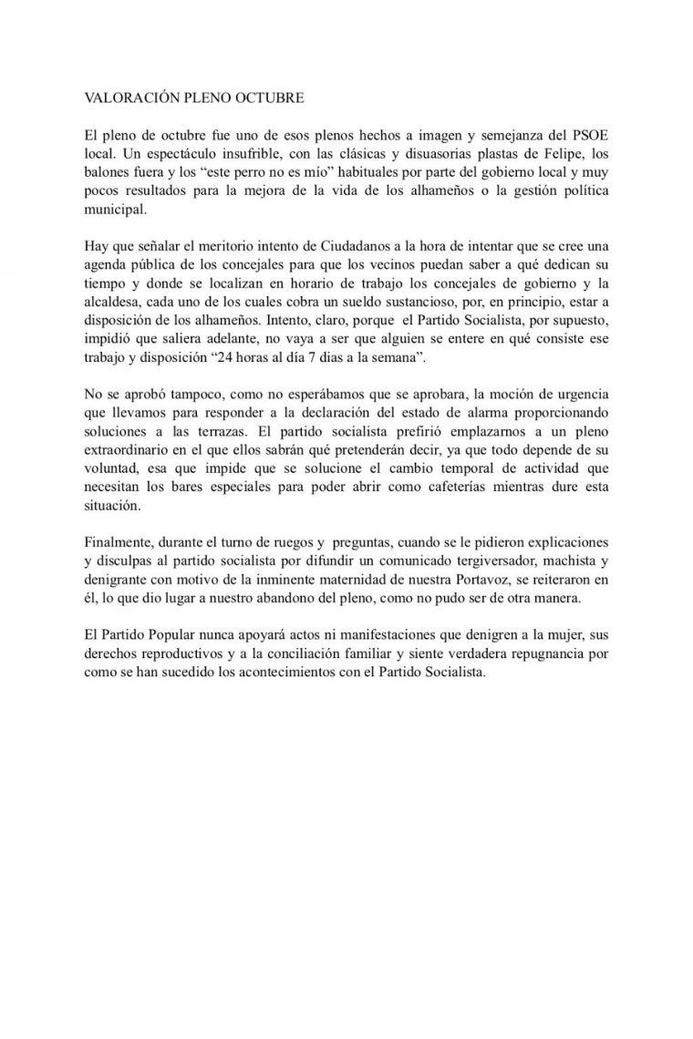 El PP sobre la actuación del PSOE en el pleno: 'repugnancia'