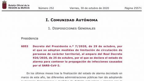 En vigor el cierre perimetral de la Región y los 45 municipios