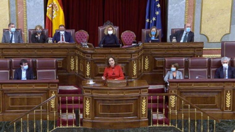 La ministra de Hacienda, María Jesús Montero, en un momento de su intervención este miércoles en el Congreso de los Diputados