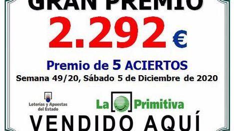 La Primitiva deja un premio de 5 aciertos y 2.292 euros en Librilla